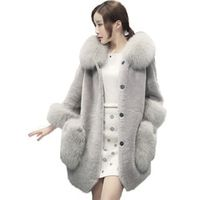 Luxury Brand Women Fur Coat New Fashion Single Breasted Faux Fur Coat Thicken Warm Outerwear Gray Red Plus Size CT288