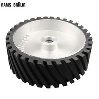RAMS BRALIN 300*100mm Belt Grinder Contact Grooved Rubber Polishing Wheel Dynamically