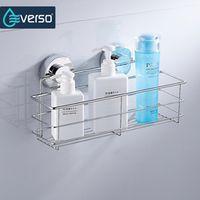 everso Stainless Steel Shower Dual Sucker Bathroom Wall Mount Shelf Shampoo Holder