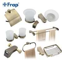 Frap Bath Accessories Paper Holder Cup Holder Toilet Brush Soap Dishes Towel Rack Hook Space Aluminium 8 Pieces F14T8
