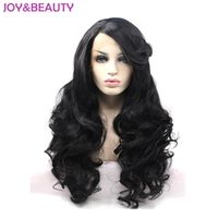 JOY&BEAUTY Hair Natural Black Long Wavy Wigs Synthetic Hair Lace Front Wig High Temperature Fiber Women Wig 26inch Free Shipping
