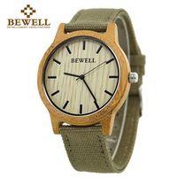 BEWELL Bamboo Wood Watch Luxury Analog Digital Quartz Watch