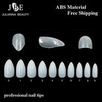 JEARLYU 500Pcs/Bag Stiletto Nail Tips French Salon Almond Nail Art False Nail ABS