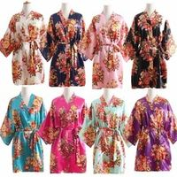 Women Silk Satin Wedding Bride Bridesmaid Robe Floral