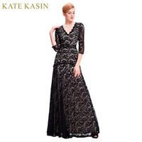Kate Kasin Lace Long Sleeve Blue Black Red Wedding Dress