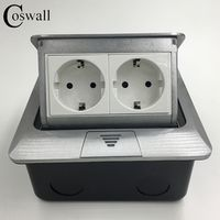 Manufacturer All Aluminum Panel EU Standard Pop Up Floor Socket 2 Way Electrical Outlet Modular Combination Customized Available