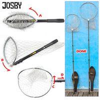 JOSBY Fishing Nets Mesh Stainless Steel 200cm Telescoping Pole Foldable Landing Net