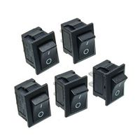 5PCS Black Push Button Mini 6A-10A 250V KCD1-101 2Pin Snap-in On/Off Rocker Switch
