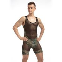 2017 Sexy Man Jumpsuit Wresting Undershirts Shapper Camouflage Nylon Ultra Thin Tight Splicing Body Mens Sexy Bodysuit Fashion