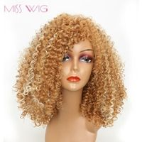 MISS WIG Yellow Kinky Curly Short Wigs For Black Women 250g synthetic wigs
