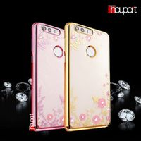 For Huawei Honor 8 Case Gold Plating Phone Back Cover Rhinestone Secret Garden Luxury Transparent Glitter Diamond Soft TPU