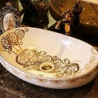 European style retro art stage pots ceramic washbasin antique oval table wash basin