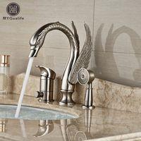MYQualife Single Handle with Switch 3pcs Bathtub Faucet Set Brushed Nickel Finish