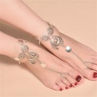 Boho Ethnic Summer Anklet Silver Color Alloy Flower Shape Hamsa Beach Anklets Jewelry For Women Accessory