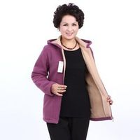 Winter Middle Aged Womens Hooded Imitation Lambs Fleece Jackets Ladies Warm Soft Velevt Coats Mother Overcoats Plus Size CE278