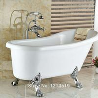 uythner Newly Floor Type Chrome Bath Shower Mixer Tap Telephone Style Dual Handles