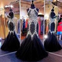 Fabulous Mermaid Pageant Dresses with Crystals Jewel Sleeveless Black Celebrity/Evening Dresses Plus Size Prom Dresses