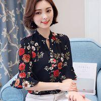 hanyiren 2018 Autumn Floral Chiffon Blouse Tops Women
