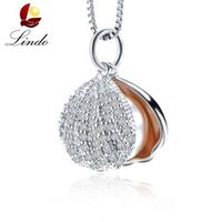 LINDO Brand New Shell Pendant Necklace High quallity 9-19mm Original Pearl Jewelry Female Party Jewelry With Gift Box