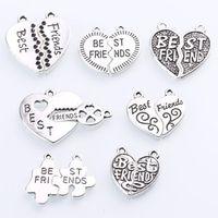 Vintage Silver Zinc Alloy Cameo Letters Best Friend Charms Diy Jewelry Alphabet Best Friend Pendant Charms 7set/lot C8904