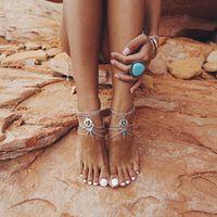 2Pcs/set Boho  Bead Anklet Wedding Foot Jewelry Chain Barefoot Sandals Beach Foot Bracelet For Women #83975