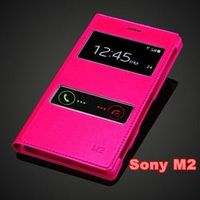 For Sony Xperia M2 S50H / Dual D2302 Fashion Slim Touch Screen View Window Luxury Flip Leather PU Cover Case Shockproof Holster