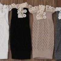120pairs/lot boot sock with button leg warmer lace trim