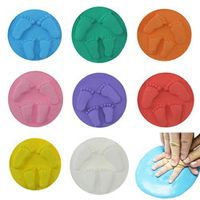 8 Colors Baby Care Air Drying Soft Clay Baby Handprint Footprint Imprint Kit Casting Parent-child Hand Inkpad Fingerprint