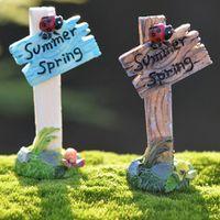 JETTING 1Pc Mini Ladybug Signpost Home Micro Fairy Garden