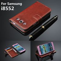 8552 Case For Samsung Galaxy Win i8552 Wallet card Slot stent Cases Horse leather Pattern Flip protect Cover black Samsung8552