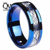 Queenwish 8mm BlueTungsten Ring Celtic Silver Dragon Carbon Fibre Inlay Eternity Wedding Rings For Couples Jewelry