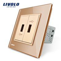 Livolo, Gold  Crystal Glass Panel, One Gang USB Plug Socket / Wall Outlet VL-C792U-13