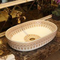 Oval Europe Vintage Style Art wash basin Ceramic Silver Lavabo Counter Top Wash Basin Bathroom Sinks oval art wash basin
