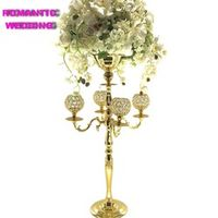 """Crystal Candelabra Centerpieces 30"""" TALL Gold Wedding Globe Crystal Candelabra 4 Arms Candelabra Candle Holder 4PCS/LOTS"""