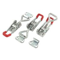 WSFS Hot Sale 3 PCS Toolbox Case Metal Toggle Latch Catch Clasp 9.5cm Length Silver+Red