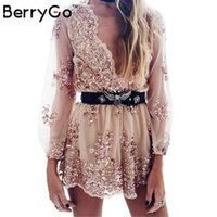 BerryGo Deep v sequin playsuit women Tassel short mesh