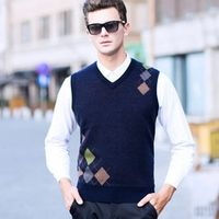 Autumn Winter New Pure Wool Vest Knitting Jacquard Thickening Sweater V-neck Computer Knitted Sleeveless Pullovers size SMLXLXXL
