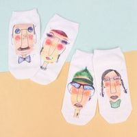 1Pair Fashion Women Girls MultiColor Unisex One Size Retro Casual Funny Simple Printing Cotton Soft Breathable Couple Socks