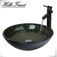 Hello Tall Bamboo Spray Basin Tap+Bathroom Sink Washbasin Glass Hand-Paint  Lavatory Sink Combine Set Torneira Mixer Faucet