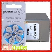60 PCS PowerOne 675 P675 PR44 A675 1.45V Hearing Aids Zinc Air Button Batteries Made in Germany w/Free Gift