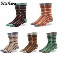 RioRiva Men Formal Dress Socks US 8-14 /EU 42-49 Heel reinforcem Mid Calf Cotton Plus Size Gift Box Classic Stripe For Business