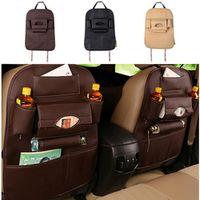 Dierfei Auto Supplies Leather Seat Back Folding Storage Box Multi-Use Tools Organizer