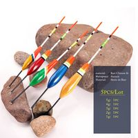 Mix&equipment 5 Pcs Multi-size Wooden Fishing Float Rock Buoy Fishing Float Set