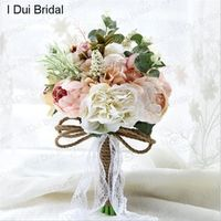 I DUI Bridal Rustic Wedding Bouquet Pal Pink Ivory Flower