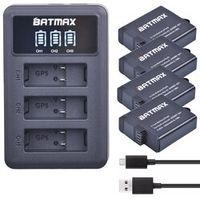 Batmax 4Pcs Battery 3Slots LED USB Charger for GoPro Hero 5 / 6 Black Compatible