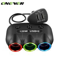 Onever universal 5V/2.1A 120W Multi Socket Auto Car Cigarette Lighter USB with Switch