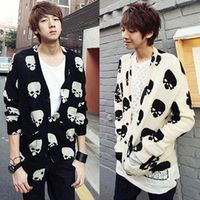 Free shIpping new 2017 autumn outerwear knitted casual cardigan fashion skull print long design cardigan male dress sweater/KS12