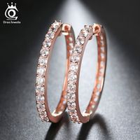 ORSA JEWELS 2017 Rose Gold Color Big Hoop Earring Paved Luxury AAA Cubic Zirconia Fashion Women Round Loop CZ Earrings OE143