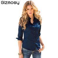 Gizmosy Autumn Blouses Button Lapel Long Sleeve Women's