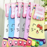 Five fingers cotton socks cute cat face cartoon character women socks Korea  Toe socks and fashion lovely socks(5pair/lot)
